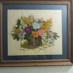 Large Crewel Embroidery Vintage Flower Basket
